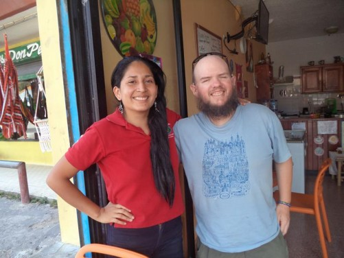 Tony with a Panamanian lady named Heaven, who Tony couch-surfed with for one night.