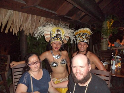 Tony and Tatiana with two dancers. Taken at Te Vara Nui Village dinner and cultural dance show. 3rd November 2016.