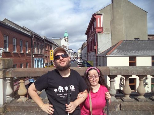 Again Tatiana and Tony on the city walls. Here on top of Ferryquay Gate looking along Ferryquay Street.