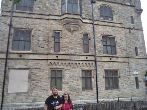 Outside the Apprentice Boys Memorial Hall on Magazine Street Upper. This building commemorates the Protestant 'Apprentice boys' who closed the gates to the walled city in 1688 against the advance of soldiers loyal to Catholic King James II.