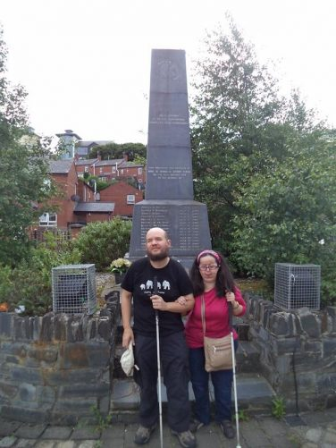 Tony and Tatiana at the Bloody Sunday memorial. A stone obelisk inscribed with the names of the 14 people who were shot dead by British soldiers on 30th January 1972.