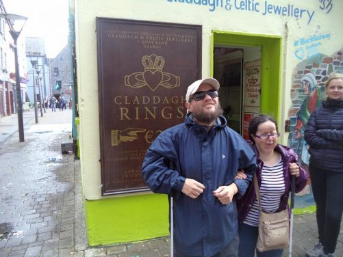 Tony and Tatiana outside a jewellery shop at the junction and Quay Street and Quay Lane.