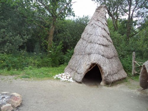 A tall narrow round hut with a pointed roof covered with reeds or grasses. This is how a hut might have looked in the Middle Stone Age (Mesolithic), when people first arrived in Ireland following the Ice Age 9000 years ago.