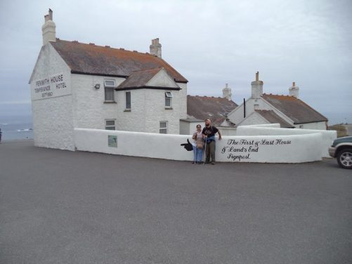 Tony and Tatiana outside Penwith House. Originally built as a temperance hotel for Victorian visitors to Land's End who preferred an establishment that did not serve alcohol.