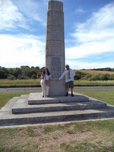 Again Tony and Tatiana in front of the memorial. This time showing the whole memorial, which is a stone obelisk.