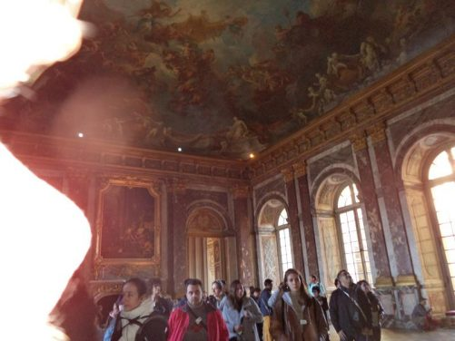 Again in the Hercules Salon. Part of the ceiling can be seen covered with a giant painting of the Apotheosis of Hercules by François Le Moyne. The room was completed in 1736.