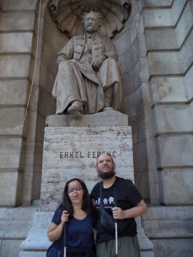 Tatiana and Tony in front of a statue of Erkel Ferenc (1810-1893). He was a Hungarian composer, conductor and pianist. His statue is in a niche outside the State Opera House, Andrássy Avenue 22.