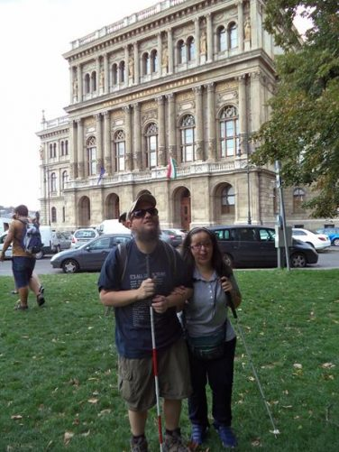 Tony and Tatiana outside the Hungarian Academy of Sciences (Magyar Tudományos Akadémia). Located in Széchenyi Square on the Pest (eastern) side of the Danube near the Chain Bridge.