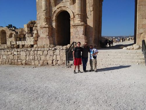 Tony with Brent Folan and a friend of Faris's at the Arch of Hadrian.