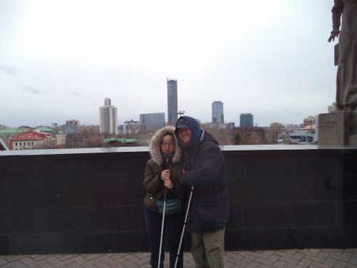 View of central Yekaterinburg from outside the Church on Blood. Tatiana and Tony in the foreground.