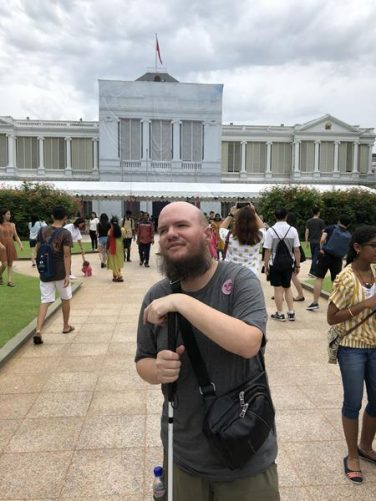 Tony outside the Istana.