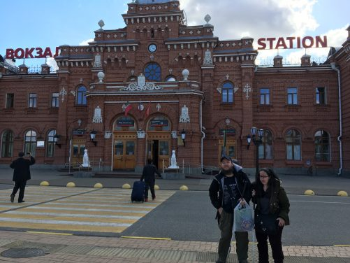 Tony and Tatiana outside Kazan Railway station. The grand main building in the background was built in 1896.