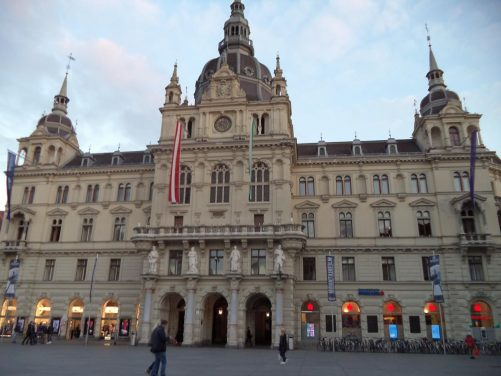 The Town Hall (Rathaus) located on Hauptplatz.