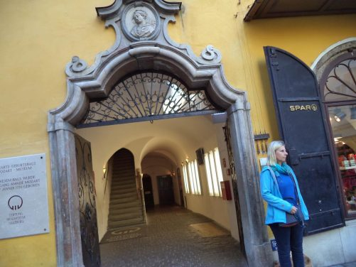 Doorway to the Mozart birthplace museum.