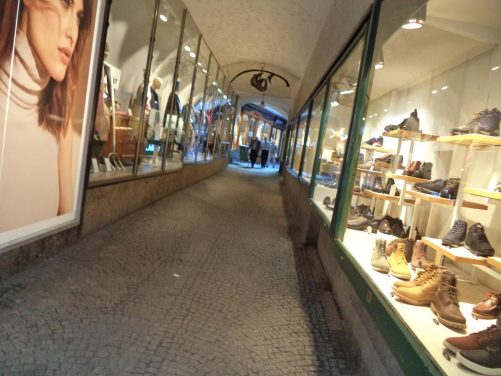 A covered passageway lined with shops. There are many of these old passageways in the old town.