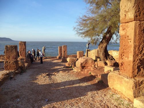 Ancient road/walkway that slowly descends to the Mediterranean Sea through the ruins.