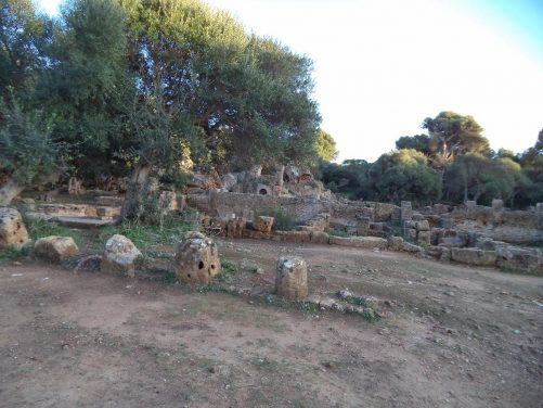 Remains of ruined buildings at Roman Tipasa. The site includes three ruined basilicas as well as bathhouses.