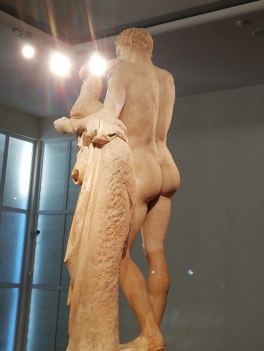 Rear view of Hermes and the Infant Dionysos.