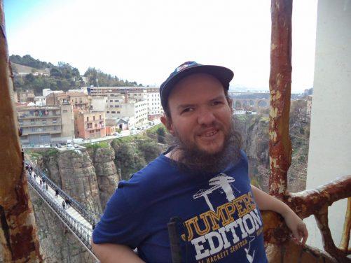 Tony on the balcony with the Mellah Slimane Bridge and ravine below.