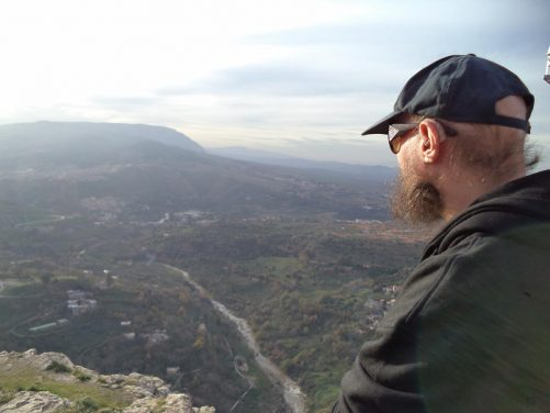 Tony looking from the terrace at Monument Aux Morts. The River Rhumel can clearly be seen below flowing north-west away from the city towards the sea.