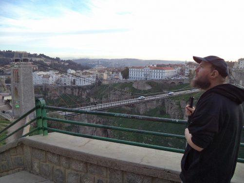Tony near the edge of the ravine close to the Sidi M'Cid Bridge.