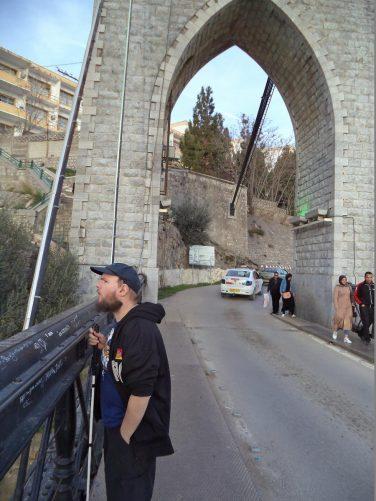 Tony on Sidi M'Cid Bridge.
