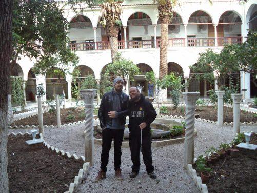 Tony with his Algerian friend Ramy in the garden.