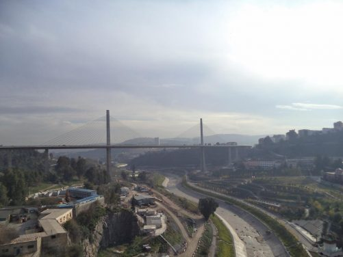 View of the Salah Bey Bridge, the first cable-stayed bridge in Constantine, built in 2014. It is 750 metres in length with 245 metres for its longest single span.