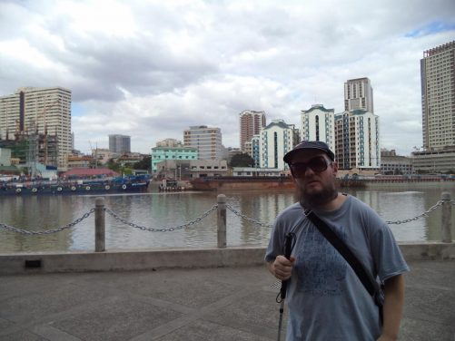 View across the Pasig River from near Fort Santiago shortly before in reaches the sea.