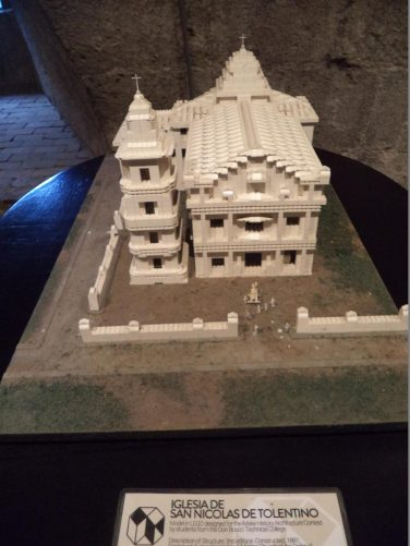 Lego model of the Church of San Nicolas de Tolentino, which stood in Intramuros before being destroyed by bombing during World War Two.