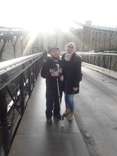Tony and Tinhinane crossing Sidi M'Cid Bridge.
