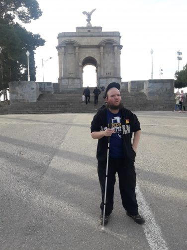 Tony in front of Monument Aux Morts.