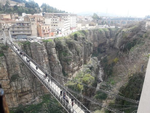View of footbridge and gorge from Restaurant Igharssan.