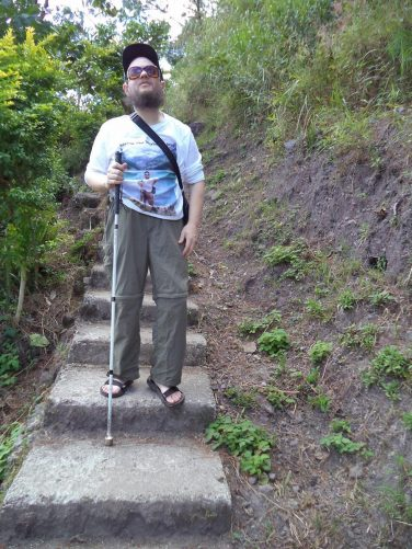 Tony heading down steps. These are a few of the approximately 4,000 steps on the way to Bomod-Ok Falls.