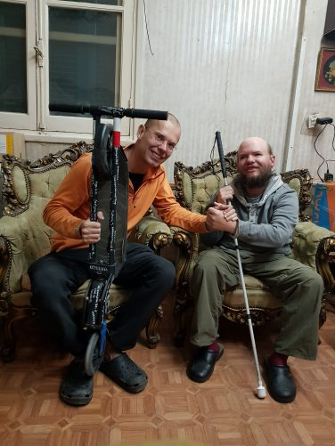 Tony with Tomasz Jakimiuk, a world traveller and blogger/film maker from Poland. Taken 4th March in the Cairo home of a local Couchsurfer.