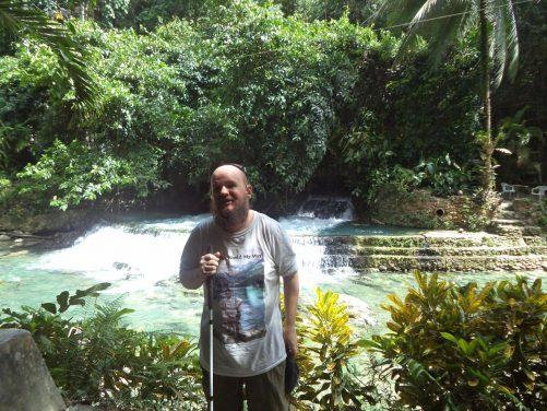 Tony close to the pool at Kawasan Falls.
