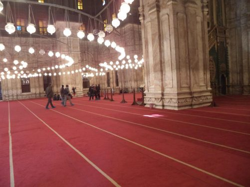 Again the red carpeted interior of Muhammad Ali Mosque.