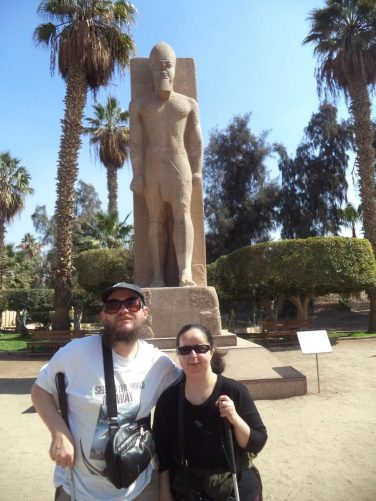 Tony, Tatiana with a statue of Rameses II.