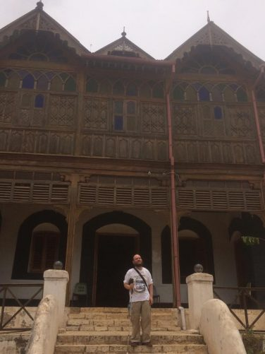 Tony on steps outside the Arthur Rimbaud Museum. Arthur Rimbaud was a 19th century French poet and writer who lived in Harar between 1881 and 1891.