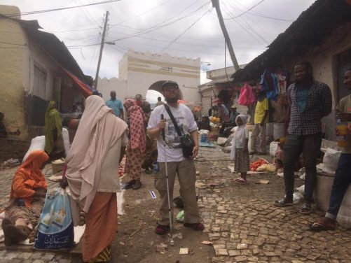 Market in front of shewa. Tony in the foreground.