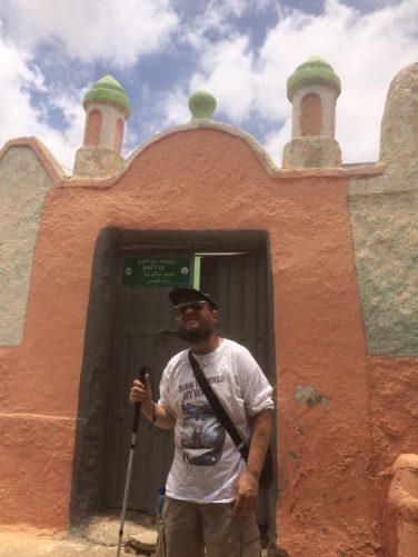 Tony outside a mosque.