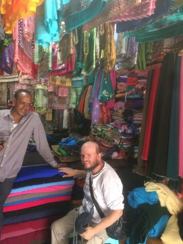 Tony and his new friend Wehibe in the silk shop.
