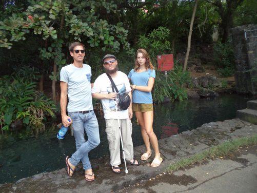 Tony, Jens and Zoé, Jens's daughter, next to the pool at Moulin de la Tour des Roches.