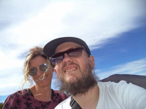 Close-up of Tony and Marie whilst hiking near Piton de la Fournaise volcano.