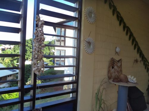 View through the open slats of a pair of window shutters. A mobile made from sea shells dangling on one side.