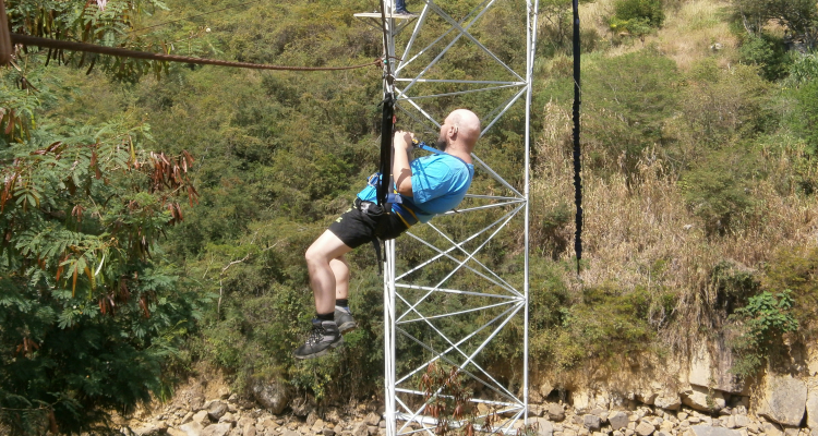 Tony sliding along a zip wire in San Gil, Colombia, December 2012.